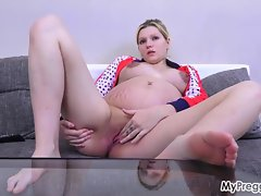 Fucking Their way Pregnant Pussy with a Vibrator!